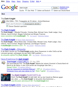Google SERP for dark knight containing image