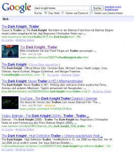 "Google SERP ""Dark Knight Trailer"""