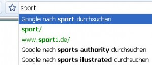Suche nach sport in Google Chrome