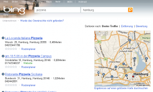 Bing local: Pizzeria in Hamburg