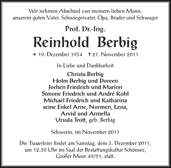 Prof. Dr.-Ing. Reinhold Berbig, 1934-2011