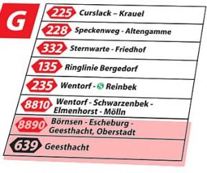 Abfahrt Linie 8890 von Bergedorf