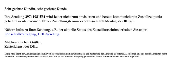Als DHL Statusbericht getarnter Virus-Link